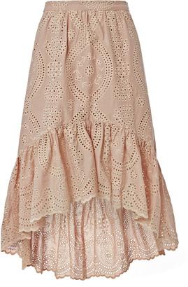 LOVESHACKFANCY Pam High-Low Eyelet Skirt