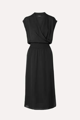 Theory Wrap-effect Silk-chiffon Midi Dress - Black
