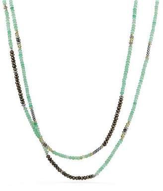 David Yurman Tweejoux Bead Necklace in Chrysoprase, Pyrite & Peridot with 18K Gold