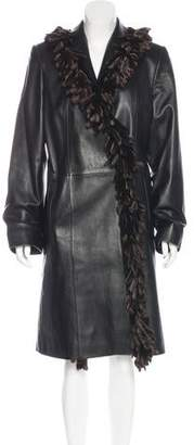 Couture Bisang Mink-Trimmed Leather Coat