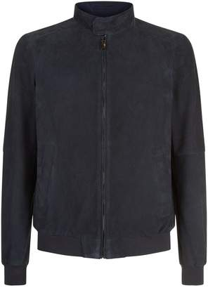 Pal Zileri Suede Perforated Bomber Jacket
