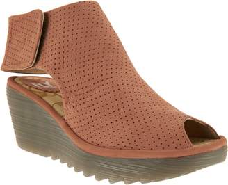 d9903631f454 at QVC · Fly London Leather Perforated Peep-toe Wedges - Yahl