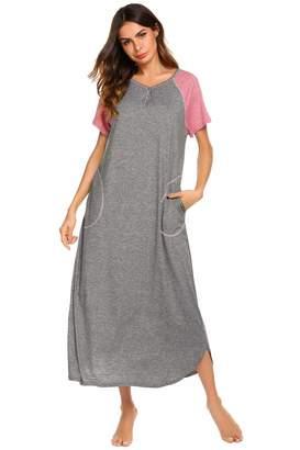 d8f0f13cc7 Ekouaer Nightshirts for Womens Long Loungewear Short Sleeves Night Gowns V Neck  Sleepwear