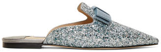 Jimmy Choo Silver Galaxy 35 Glitter Slippers