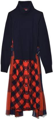 Sacai Buffalo Check Dress in Navy/Orange