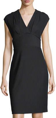 Tahari ASL Chevron-Knit V-Neck Dress