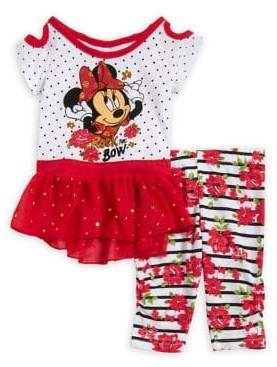 Disney Baby Girl's Two-Piece Minnie Cold-Shoulder Dress and Leggings Set