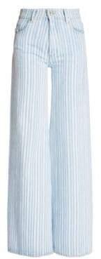 Off-White Diagonal Stripe Wide Leg Jeans