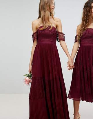 Asos Bridesmaid Premium Guipure Lace Panelled Maxi Dress