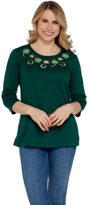 Factory Quacker 3/4 Sleeve Spring Holiday Knit T-Shirt w/ Cut-out Detail