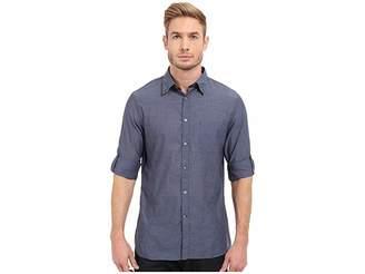 John Varvatos Roll Up Sleeve Shirt w/ Button Down Collar Single Pocket