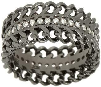 Diamonique Curb Design Band Ring, Sterling Silver