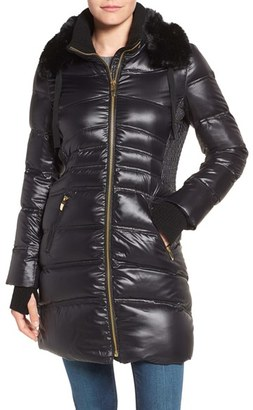 Women's Via Spiga Stand Collar Down Jacket With Removable Faux Fur Trim $228 thestylecure.com