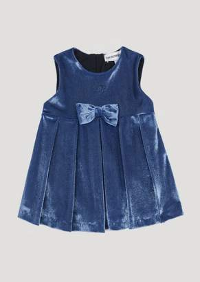 Emporio Armani Full Circle Skirt In Jersey Velour With A Bow At The Waist