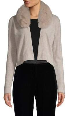 Minnie Rose Fox Fur-Trimmed Cropped Cashmere Cardigan