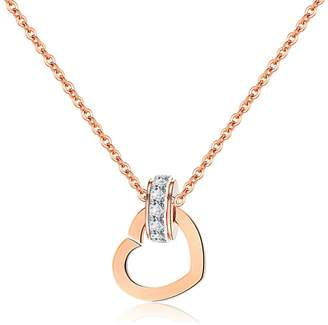Anazoz Fashion Stainless Steel Simple Cubic Zirconia Love Heart Pendant Women Necklace