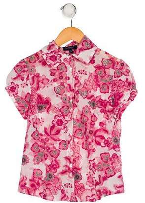 Burberry Button-Up Floral Print Top