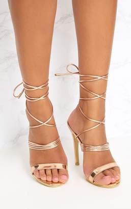 PrettyLittleThing Rose Gold Thin Strappy Lace Up Heels