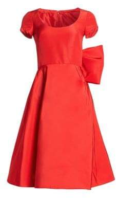 Oscar de la Renta Women's Silk Back Bow Cap-Sleeve Dress - Scarlet - Size 16
