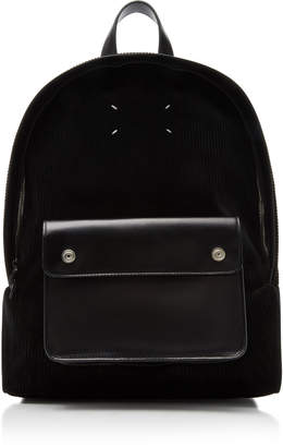 Maison Margiela Corduroy and Leather Backpack