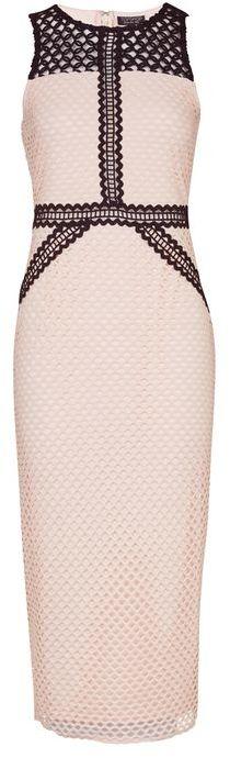 TopshopTopshop Geometric lace contrast midi dress
