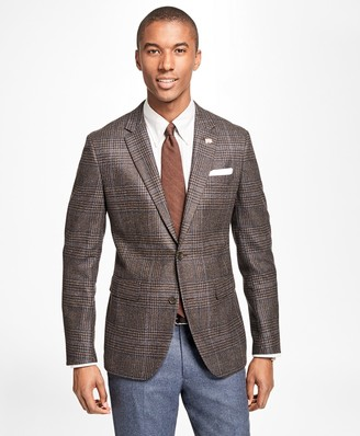 Brooks Brothers Milano Fit Saxxon Wool Plaid with Windowpane Sport Coat