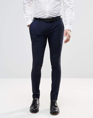 Asos Design Extreme Super Skinny Smart Trousers In Navy