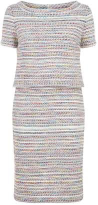 St. John Multicoloured Tweed Overlay Dress