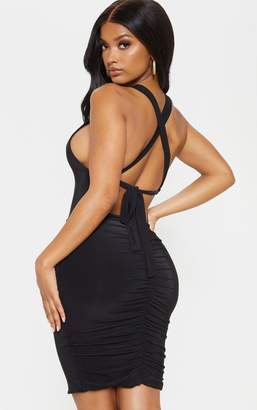 PrettyLittleThing Shape Black Tie Back Ruched Bodycon Dress