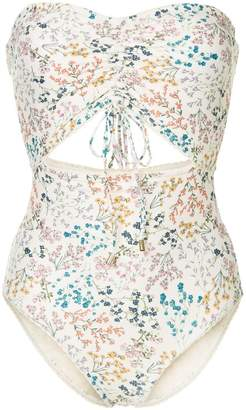 Peony ruched wild flower print swimsuit