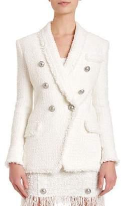 Balmain Oversized 6-Button Tweed Blazer