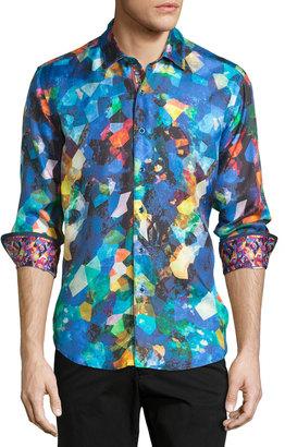 Robert Graham Caribbean Printed Silk-Blend Sport Shirt, Multi $270 thestylecure.com