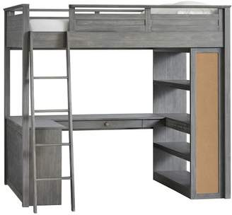 Pottery Barn Teen Sleep + Study Loft Bed, Full, Brushed Charcoal