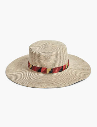 Lucky Brand EMBROIDERED BOATER HAT