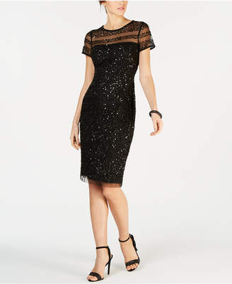 Adrianna Papell Embellished Illusion Dress