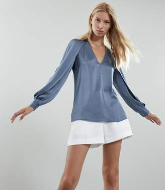 Reiss Cora - V-neck Blouse in Lagoon Blue