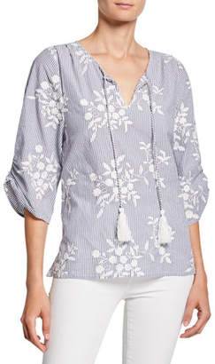 Tolani Edith Striped Floral-Embroidered Tassel-Neck Chambray Tunic
