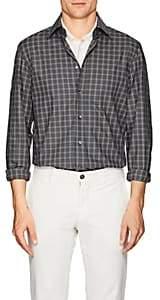 Luciano Barbera Men's Plaid Cotton Poplin Shirt - Navy