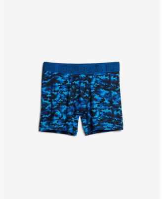 Express blue camo print performance boxer briefs