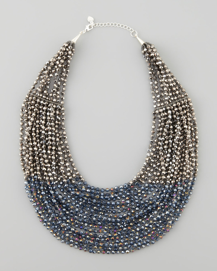 Nakamol Beaded Multi-Strand Necklace, Blue/Hematite