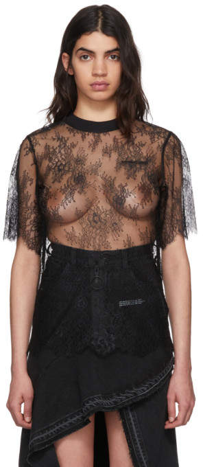 Off-White Black Lace New Over T-Shirt