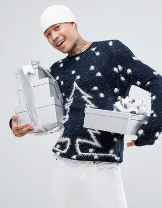Asos Christmas Jumper With Fluffy Tree Design