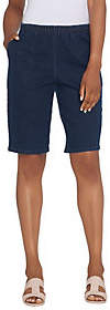 "Denim & Co. 11"" Side Pocket Pull-On Shorts -Indigo"