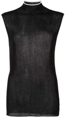 Helmut Lang ribbed knit high neck top
