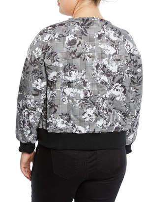 Rachel Roy Baldwin Floral/Check Bomber Jacket, Plus Size