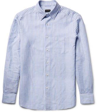 Ermenegildo Zegna Slim-Fit Button-Down Collar Gingham Cotton and Linen-Blend Shirt
