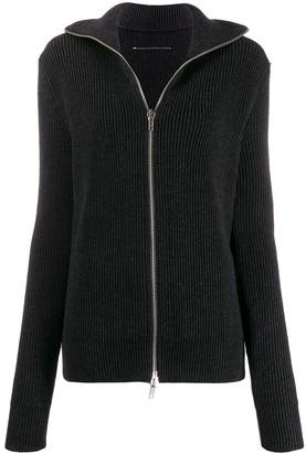 MM6 MAISON MARGIELA ribbed zip front jumper