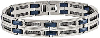 FINE JEWELRY Mens Stainless Steel & Blue Ceramic Chain Bracelet
