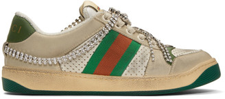 Gucci White and Off-White Crystal Screener Sneakers