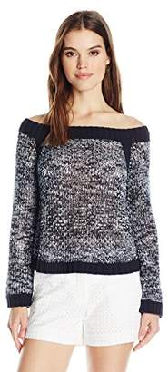 525 America Women's Mesh Space Dye Off Shoulder Crop Sweater